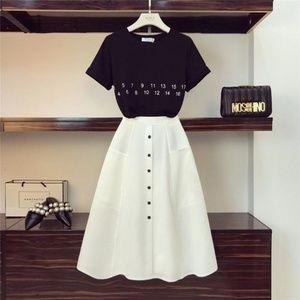Letter T-Shirt+High Waist Button Skirts 2PCS Set